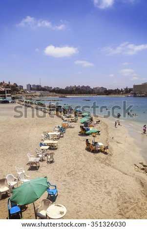 Alexandria ,Egypt - JULY 15 ,2015: Unidentified people on the beach.