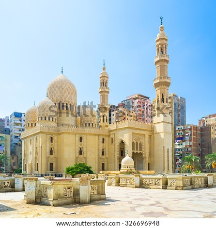 ALEXANDRIA, EGYPT - OCTOBER 11, 2014: The Attarine Mosque is the beautiful example of Islamic architecture, on October 11 in Alexandria.