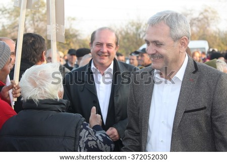 ALEXANDRIA, TELEORMAN, ROMANIA - DECEMBER 2, 2012: Liviu Nicolae Dragnea, prominent member of Social Democratic Party, meeting people in town square, during the Romanian legislative election campaign.