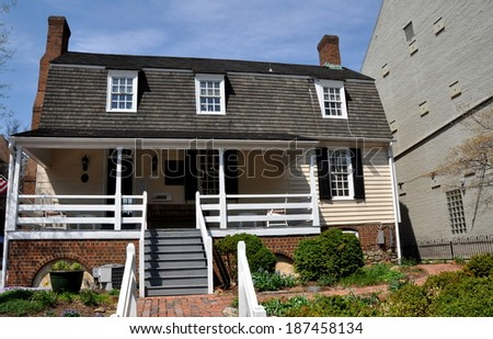Alexandria, Virginia   April 13,2014: The Historic 1724 William Ramsay  House With