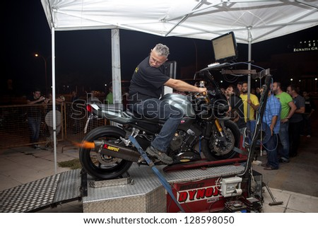 ALEXANDROUPOLI, GREECE - OCTOBER 6: Motorcycle power metering with dynamometer, in the second  Motor Beauty Contest Show, on October 6, 2012, in Alexandroupoli, Greece.