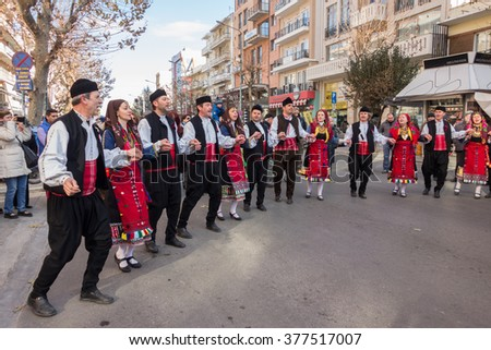 ALEXANDROUPOLIS, GREECE - DEC 31, 2015: Revival of the custom of camel by the Cultural Educational Association of Eastern Rumelia Evrou around the Town Hall in the city center