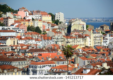 Alfama district and Tagus River at in Lisbon, Portugal