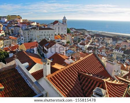 Alfama district in Lisbon, Europe - stock photo