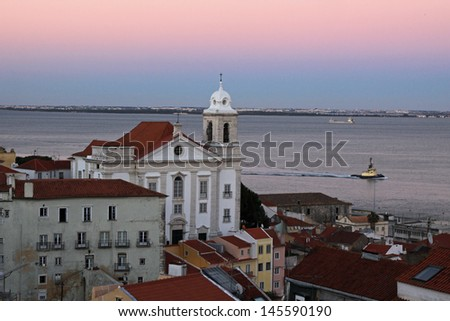 "Alfama district of Lisbon seen from the ""Portas do Sol"" viewpoint - stock photo"