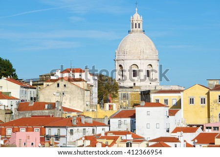 Alfama downtown and Monastery os S. Vicente de Fora in Lisbon, Portugal. - stock photo