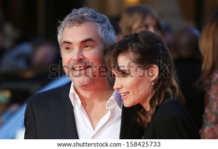 Alfonso Cuaron and Sheherazade Goldsmith arriving for the Gravity Premiere, at the BFI London Film Festival 2013, Odeon Leicester Square, London. 10/10/2013