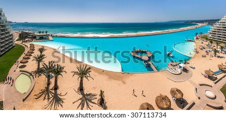ALGARROBO, CHILE - JAN 15: San Alfonso del Mar, Guinness World Record of the biggest swimming pool of the world with 8 hectares and 1 km in length. Algarrobo, Chile, jan 15, 2012. - stock photo
