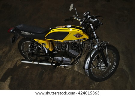 ALGARVE, PORTUGAL - April 23, 2015: Famel XF-17 motorcycle from 1975, made in Portugal, with a 50cc German Zundapp engine. Classic cars and motorcycles