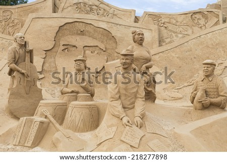 ALGARVE, PORTUGAL - JUNE 28: An exhibition of sand sculptures, unidentified sand sculpture, on June 28, 2008 in Algarve, Portugal. - stock photo