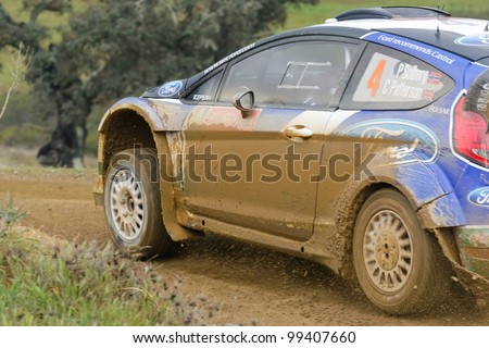 ALGARVE, PORTUGAL - MARCH 31: Petter Solberg (NOR) driving is Ford Fiest RS WRC in Rally de Portugal 2012 on March 31, 2012 in Algarve, Portugal