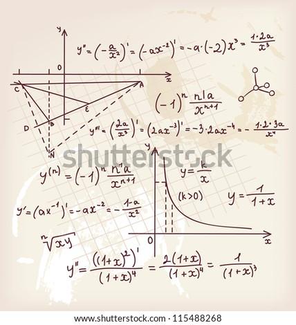 Algebra doodle background - stock photo