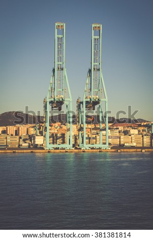 ALGECIRAS, SPAIN - MAY 1,2013: Container terminal in the industrial port of Algeciras in, Andalusia, Spain