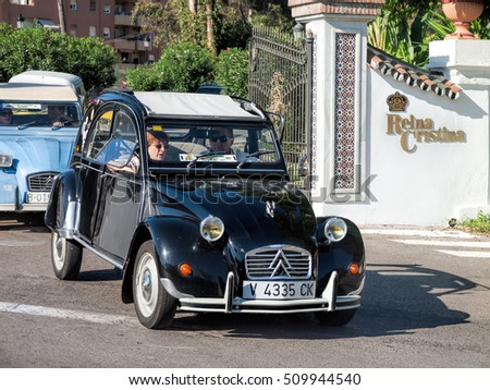 ALGECIRAS, SPAIN - OCTOBER 9, 2016: Concentration / Meeting of the historic cars citroen 2cv that was build in France from the 50s to the 80s and very popular all over western europe.