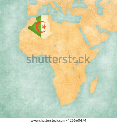 Algeria (Algerian flag) on the map of Africa. The Map is in vintage summer style and sunny mood. The map has soft grunge and vintage atmosphere, like watercolor painting on old paper.  - stock photo
