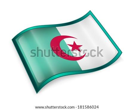 Algeria flag icon, isolated on white background - stock photo