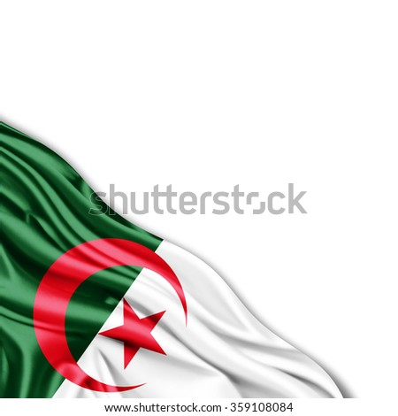 Algeria  flag of silk with copyspace for your text or images and White background - stock photo