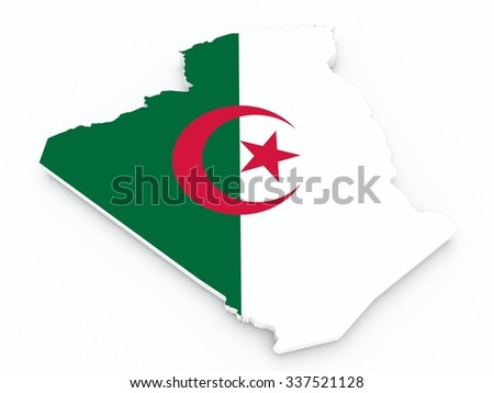 algeria flag on 3d map