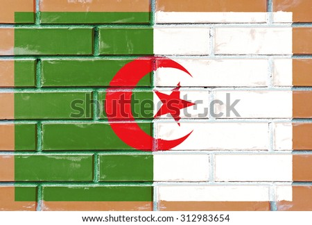 Algeria flag painted on old brick wall texture background - stock photo