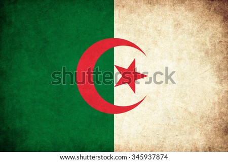 Algeria grunge flag background illustration of country