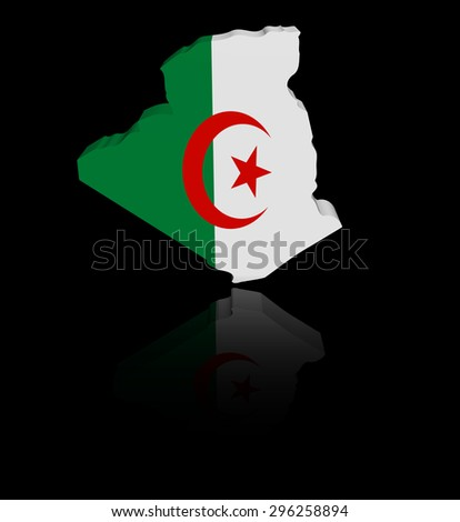 Algeria map flag with reflection illustration - stock photo