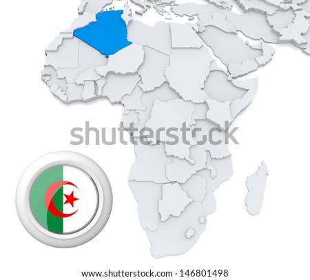 Algeria on Africa map - stock photo