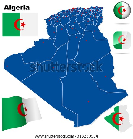 Algeria set. Detailed country shape with region borders, flags and icons isolated on white background. - stock photo