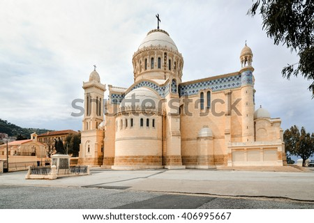 ALGIERS, ALGERIA - APRIL 8, 2016: Cathedral of Notre dame d'Afrique, Algiers Algeria. The basilica was inaugurated in 1872, after fourteen years of construction.