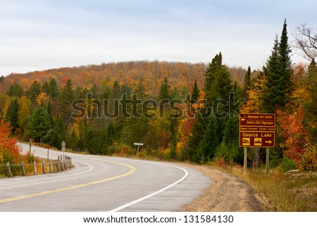 Algonquin Park Road In Fall - stock photo