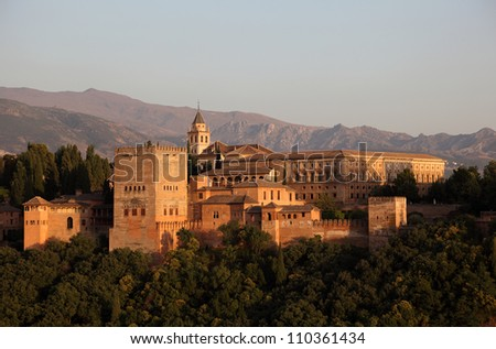 Alhambra at sunset. Granada, Andalusia Spain - stock photo