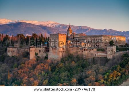 Alhambra at sunset, Granada, Spain - stock photo