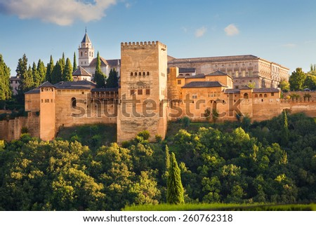 Alhambra de Granada. Exterior view of the Palacios Nazaries and the Partal area. Spain - stock photo