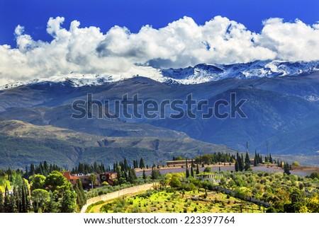Alhambra Farm Sierra Nevada Mountains Granada Andalusia Spain - stock photo