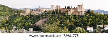 Alhambra, Granada panorama - stock photo