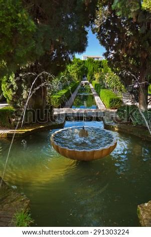Alhambra palace at Granada Spain - architecture and nature background - stock photo