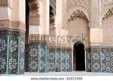Ali Ben Youssef Madrassa in Marrakech, Morocco.This is a very old Koran school. - stock photo