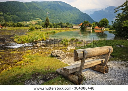 Ali-Pasha Springs near Prokletije national park in Gusinje, Montenegro - stock photo