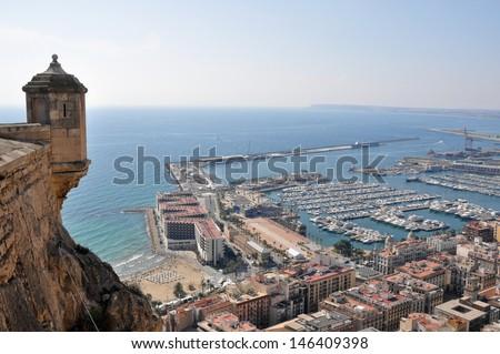 Alicante from the castle of Santa Barbara (Spain) - stock photo