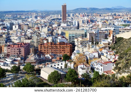 ALICANTE, SPAIN - JANUARY 8, 2013: Cityscape viewed from the Santa Barbara castle. It is the second largest city of Valencian community
