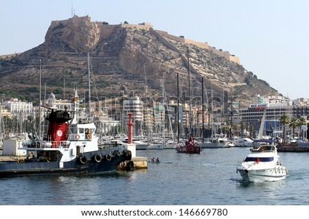 ALICANTE, SPAIN - JULY 16: The port of Alicante is an optimal place to meke marine sports along the the coast of Alicante; on july 16, 2013 in Alicante.