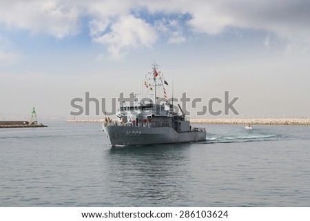 ALICANTE, SPAIN - JUNE 03: Turkish minesweeper vessel entering in the port of Alicante; Spain; on june 03, 2015 in Alicante.