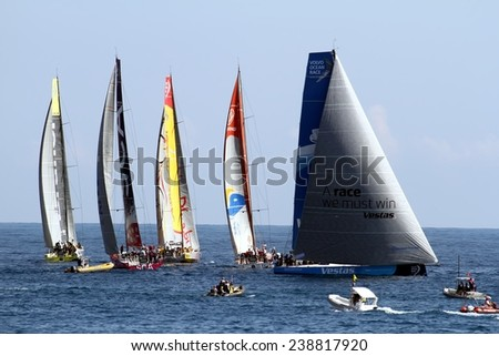 ALICANTE, SPAIN - OCTOBER 02th: Volvo Open 65 sailboats in regatta race, training day for the Open 65 sailboat class in Alicante bay, on October 02th, 2014 in Alicante.