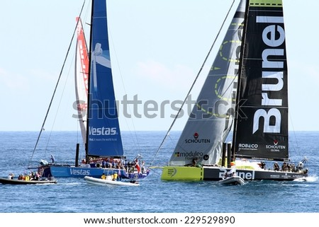 ALICANTE, SPAIN - OCTOBER 2: Volvo Open 65 embarkations in regatta race, training day for the Open 65 sailboat class in Alicante bay, on october 2, 2014 in Alicante.