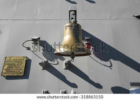 ALICANTE, SPAIN - SEPTEMBER 19: Main bell of the frigate F-104 MENDEZ NUÃ?EZ of the Spanish Navy docked in the port of Alicante in the Mediterranean Sea, on September 19, 2015 in Alicante. - stock photo
