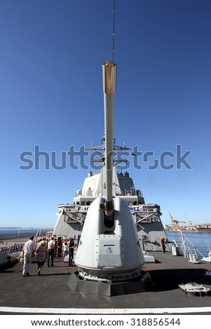 ALICANTE, SPAIN - SEPTEMBER 19: The Mark-45 lightweight gun on the F-104 MENDEZ NUÃ?EZ of the Spanish Navy docked in the port of Alicante in the Mediterranean Sea, on September 19, 2015 in Alicante. - stock photo