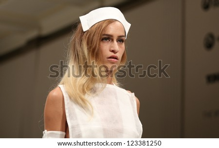 Alice Dellal arriving for the Pam Hogg London Fashion Week, SS2013 London. 17/09/2012 Picture by: Henry Harris - stock photo