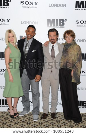 "Alice Eve, Will Smith, Josh Brolin and Emma Thompson attending the ""Men in Black 3"" Photocall at the Dorchester Hotel, London. 16/05/2012 Picture by: Steve Vas / Featureflash"