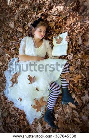 Alice in wonderland fairy tale - stock photo