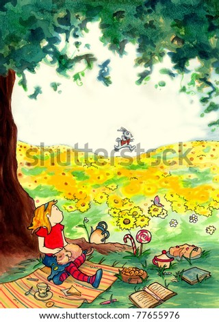 Alice see the white rabbit. Illustration for Lewis Carrol masterpiece: Alice in wonderland. Watercolors and pastels.