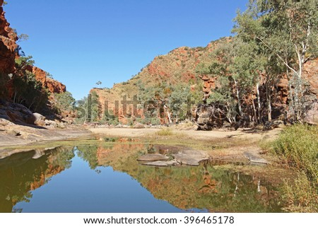 ALICE SPRINGS, AUSTRALIA - MAI 1, 2015: Ormiston Gorge, Landscape of West MacDonnell National Park on May 1, 2015 in Northern Territory, Australia - stock photo